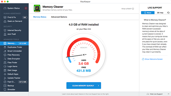 MacKeeper™ Memory Cleaner - Simplified memory control of your Mac