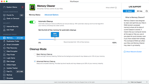 MacKeeper™ Memory Cleaner: Automatic Cleanup mode