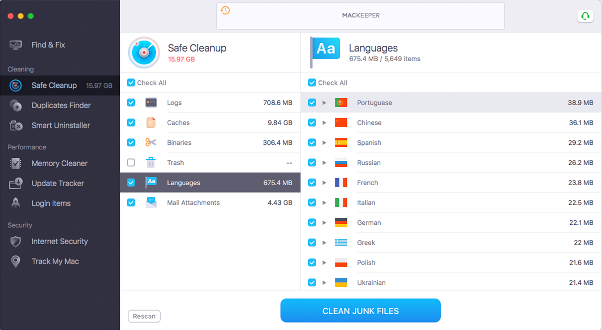 MacKeeper™ Languages Cutter service