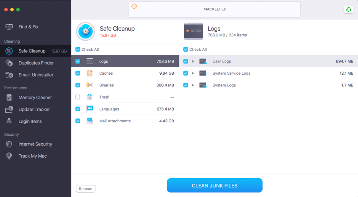 MacKeeper™ Logs Cleaner service