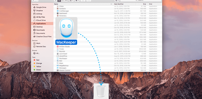 Drag MacKeeper.app to the Trash or use Cmd-Delete.