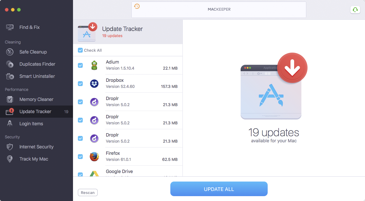 MacKeeper™ Update Tracker feature helps to keep your applications up-to-date.